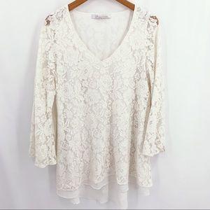 Lovers & Friends ivory lace v neck mini Medium